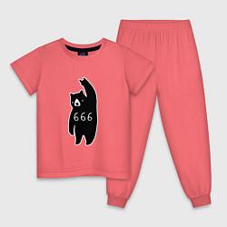 Пижама хлопковая детская Bad Bear: 666 Rock цвета коралловый — фото 1
