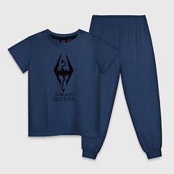 Пижама хлопковая детская TES Skyrim цвета тёмно-синий — фото 1