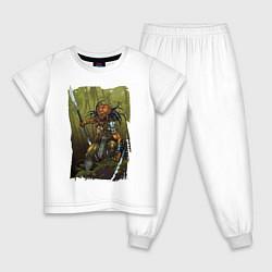 Пижама хлопковая детская Ярость хищника цвета белый — фото 1