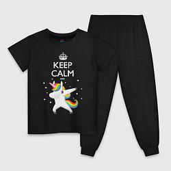 Пижама хлопковая детская Keep Calm & Dab Unicorn цвета черный — фото 1