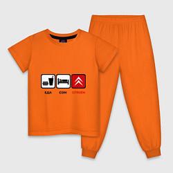 Пижама хлопковая детская Еда, сон и Citroen цвета оранжевый — фото 1