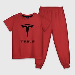 Пижама хлопковая детская TESLA Mobile цвета красный — фото 1