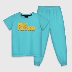 Пижама хлопковая детская Pulp Fiction цвета бирюзовый — фото 1
