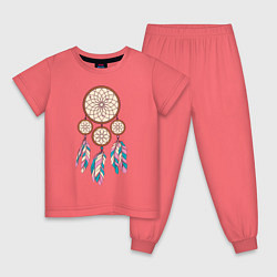 Пижама хлопковая детская Ловец снов цвета коралловый — фото 1
