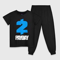 Пижама хлопковая детская PAYDAY 2 цвета черный — фото 1