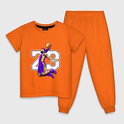 Пижама хлопковая детская Леброн Джеймс цвета оранжевый — фото 1
