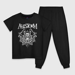 Пижама хлопковая детская Alestorm: Pirate Bay цвета черный — фото 1