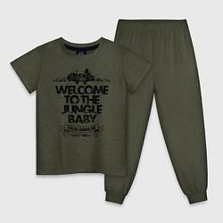 Пижама хлопковая детская Welcome to the Jungle цвета меланж-хаки — фото 1