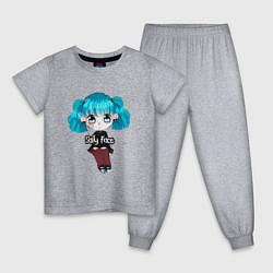 Пижама хлопковая детская Sally Face: Kid Girl цвета меланж — фото 1