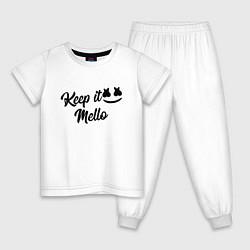 Пижама хлопковая детская Keep it Mello цвета белый — фото 1
