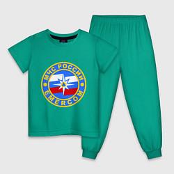 Пижама хлопковая детская Emercom Russia цвета зеленый — фото 1