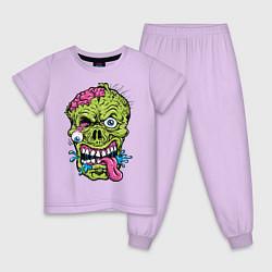 Пижама хлопковая детская Scary mask цвета лаванда — фото 1
