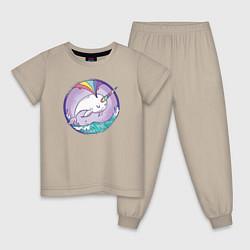 Пижама хлопковая детская Нарвал-единорог цвета миндальный — фото 1