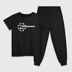 Пижама хлопковая детская Rammstein цвета черный — фото 1
