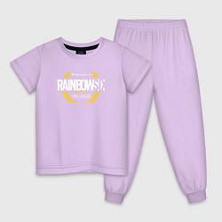 Пижама хлопковая детская R6S PRO LEAGUE НА СПИНЕ цвета лаванда — фото 1