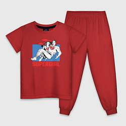 Пижама хлопковая детская Superman & Supergirl цвета красный — фото 1