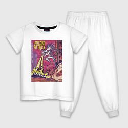 Пижама хлопковая детская Единорог Атакует цвета белый — фото 1