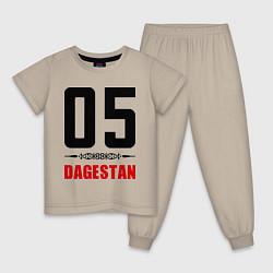 Пижама хлопковая детская 05 Dagestan цвета миндальный — фото 1