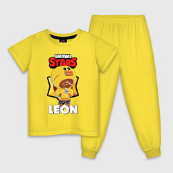 Пижама хлопковая детская BRAWL STARS SALLY LEON цвета желтый — фото 1