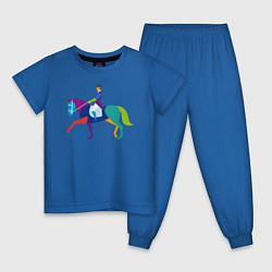 Пижама хлопковая детская Всадник на коне цвета синий — фото 1