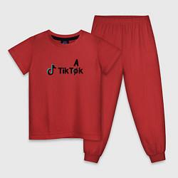 Пижама хлопковая детская TikTak цвета красный — фото 1