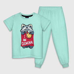 Пижама хлопковая детская Очаровательный воришка цвета мятный — фото 1