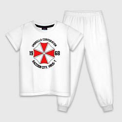 Пижама хлопковая детская UMBRELLA CORP цвета белый — фото 1
