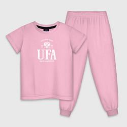 Пижама хлопковая детская Уфа Born in Russia цвета светло-розовый — фото 1