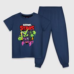 Пижама хлопковая детская BRAWL STARS VIRUS 8-BIT цвета тёмно-синий — фото 1