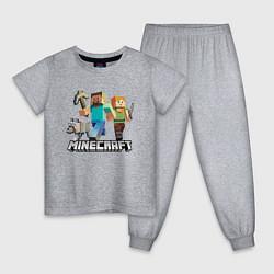 Пижама хлопковая детская MINECRAFT цвета меланж — фото 1