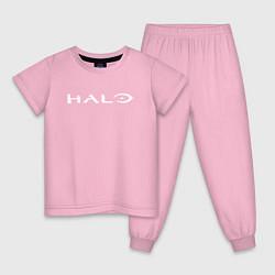 Пижама хлопковая детская HALO цвета светло-розовый — фото 1