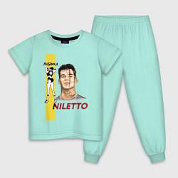 Пижама хлопковая детская NILETTO цвета мятный — фото 1
