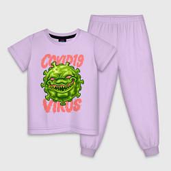 Пижама хлопковая детская Covid-19 цвета лаванда — фото 1