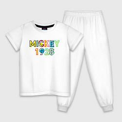 Пижама хлопковая детская Mickey Mouse 1928 цвета белый — фото 1