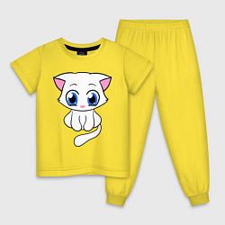 Пижама хлопковая детская Няшная киса цвета желтый — фото 1