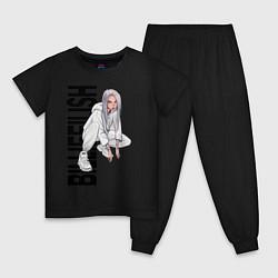 Пижама хлопковая детская Билли айлиш цвета черный — фото 1