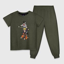 Пижама хлопковая детская Naruto цвета меланж-хаки — фото 1