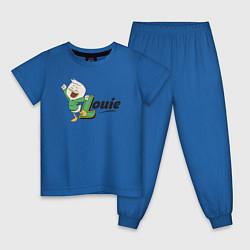 Пижама хлопковая детская Louie цвета синий — фото 1