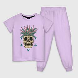 Пижама хлопковая детская Череп Моргенштерна цвета лаванда — фото 1