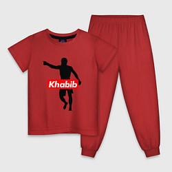 Пижама хлопковая детская Хабиб Нурмагомедов цвета красный — фото 1