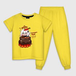 Пижама хлопковая детская Genshin Impact Paimon food цвета желтый — фото 1