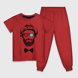 Пижама хлопковая детская Хипстер цвета красный — фото 1