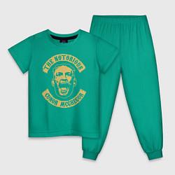 Пижама хлопковая детская Конор МакГрегор цвета зеленый — фото 1