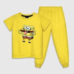 Пижама хлопковая детская Губка Боб цвета желтый — фото 1