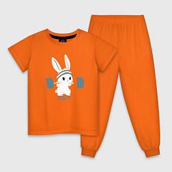 Пижама хлопковая детская Физкульт - привет! цвета оранжевый — фото 1