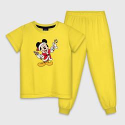Пижама хлопковая детская Merry Christmas цвета желтый — фото 1
