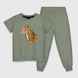 Пижама хлопковая детская Лошадь в цветах цвета авокадо — фото 1