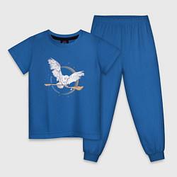Пижама хлопковая детская Happy Holidays цвета синий — фото 1