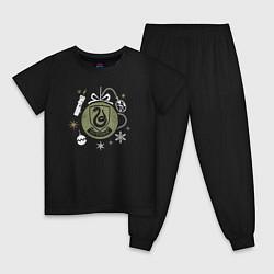 Пижама хлопковая детская Слизерин цвета черный — фото 1
