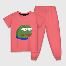 Пижама хлопковая детская Pepe MonkaS цвета коралловый — фото 1